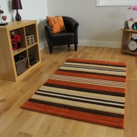 Havana Modern Terracotta Brown Stripes Mat – 917-Terra Havana 70 cm